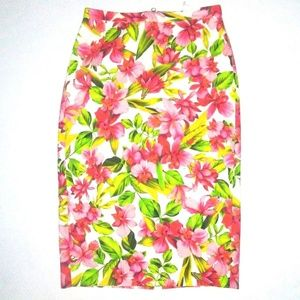 J CREW COLLECTION HIBISCUS Cotton Pencil Skirt 0